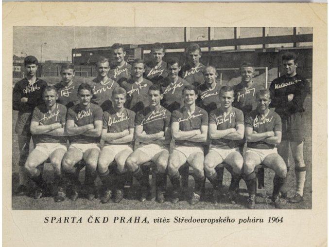 Podpisová karta, , Sparta ČKD Praha, vítěz Středoevropského poháru, 1964