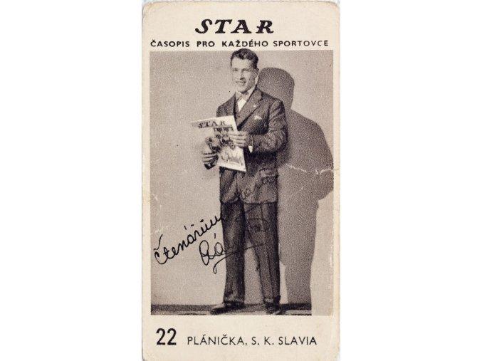 Kartička z časopisu STAR, 22 PLÁNIČKA , S.K.SLAVIA