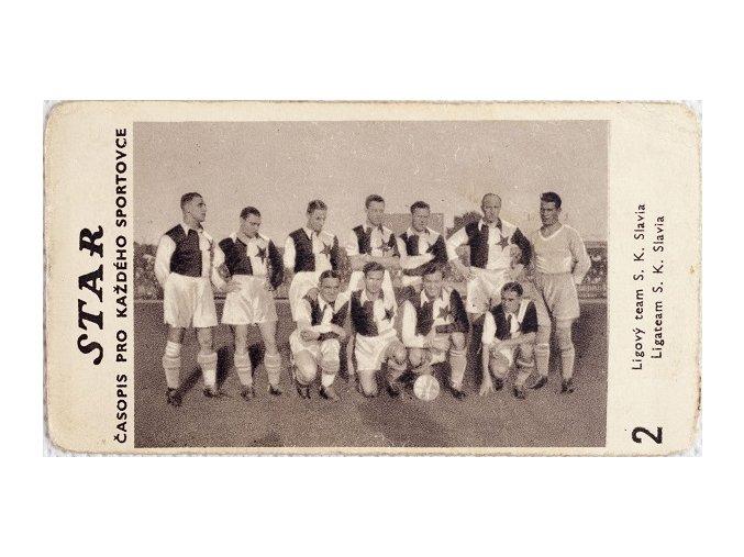 Kartička z časopisu STAR, 2 Ligový team S.K.Slávie