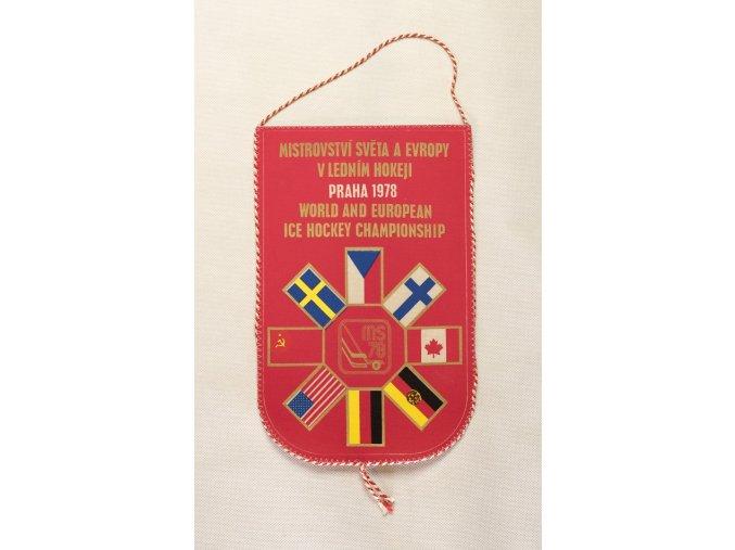 Vlajka klubová MS hokej 1978 Praha velká RED