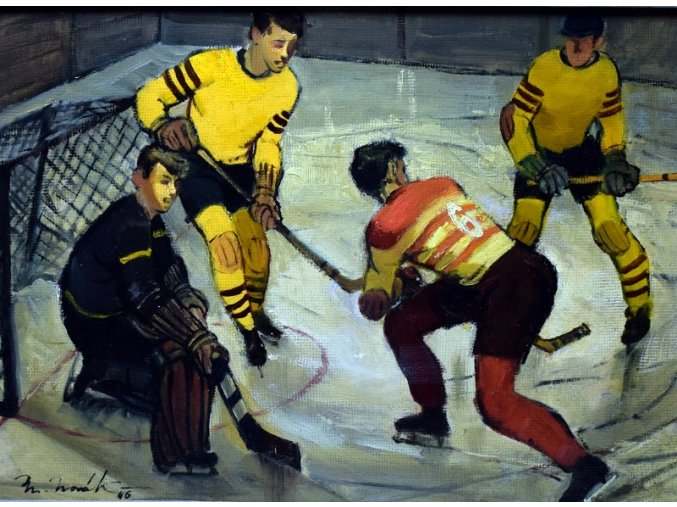 sport antique obraz hokej bez ramu
