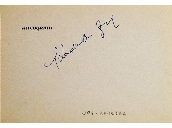Autogram Josef Kadraba
