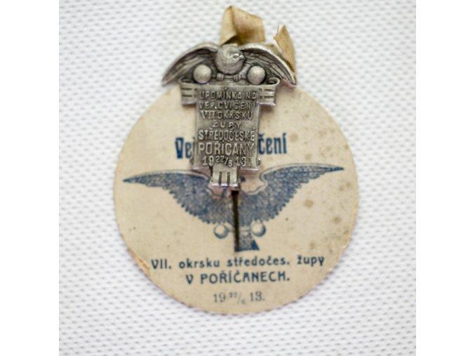 Odznak upomínka na veř. cvičení Sokol, 1913