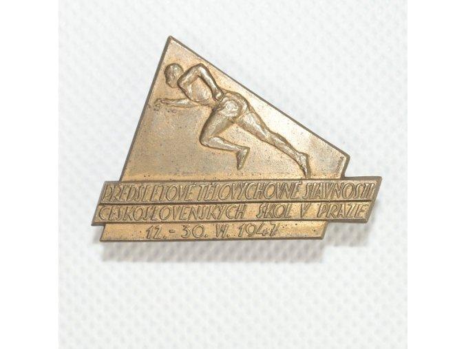 Odznak předsletové sokolské slavnosti v Praze 1947 bez stuhyDSC 0047