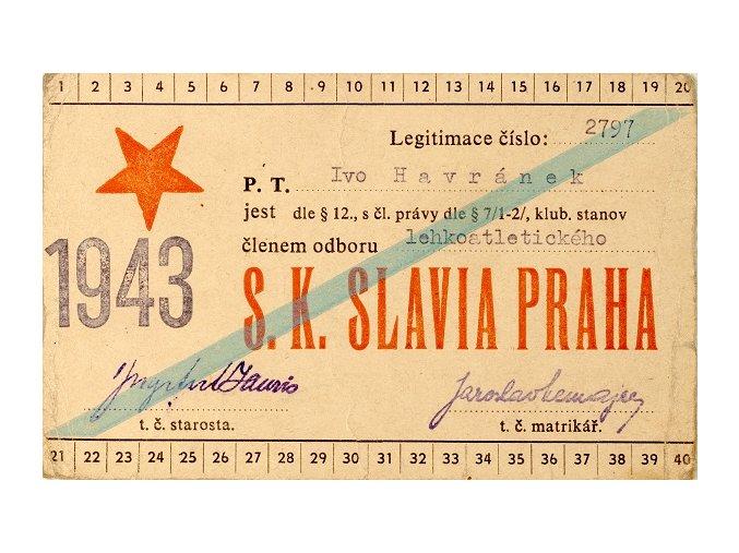 Legitimace P.T. klubu S.K.SLAVIA PRAHA z roku 1943, atletiDSC 0164