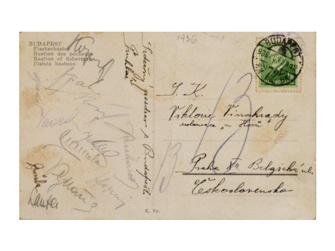Pohlednice z Budapešti, Slavia , podpisy 1936DSC 2362