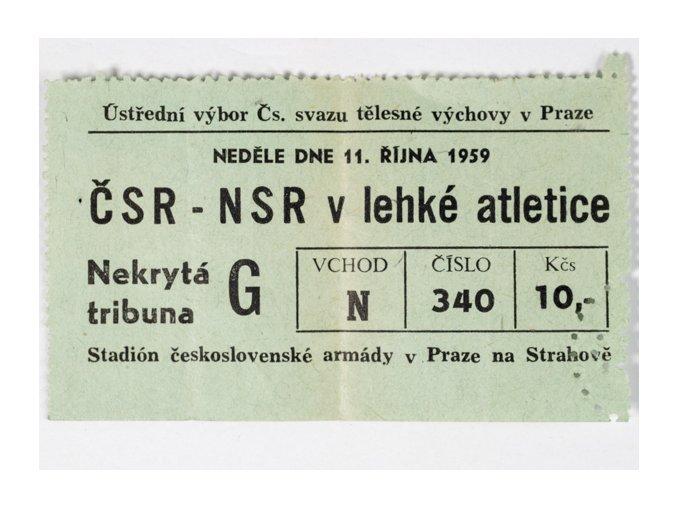 Vstupenka lehká atletika, ČSR NSR, 1959DSC 4244