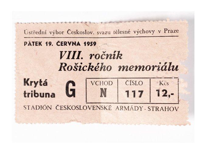 Vstupenka lehká atletika, VIII. ročník Rošického memoriálu, 1959DSC 4243