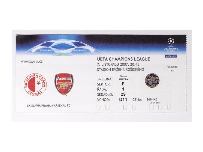 Vstupenka fotbal SK Slavia Prague vs. ARSENAL FC.7. XI. 2007, utržená, hologram. UEFA Champions league.DSC 4268