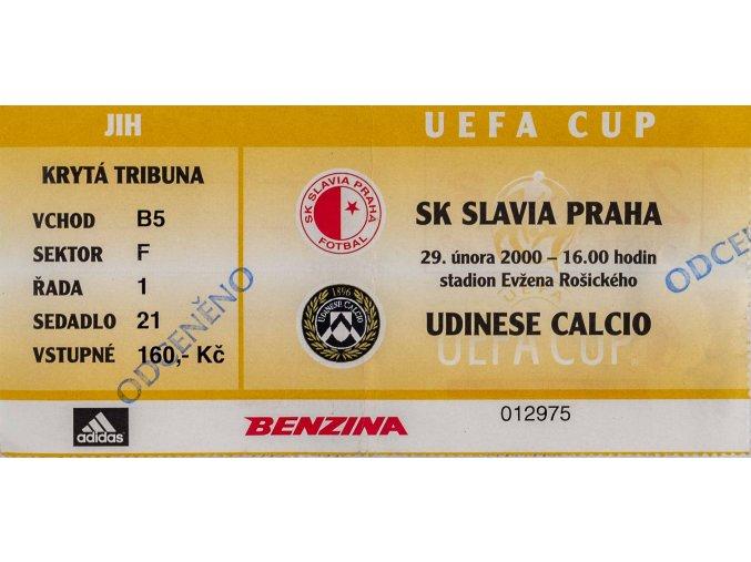 Vstupenka fotbal SK Slavia Prague vs. UDINE CALCIO .29. II. 2000, neutržená. UEFA cupDSC 4265