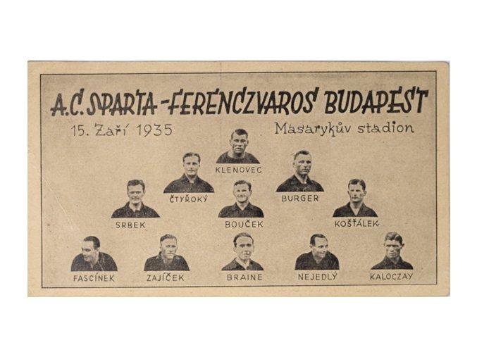 Korespondenční lístek Sparta Ferencvaros, 1935DSC 4275