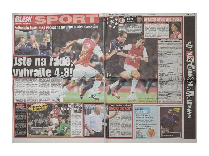 Noviny BLESK, 2007, Slavia vs. ArsenalDSC 4316
