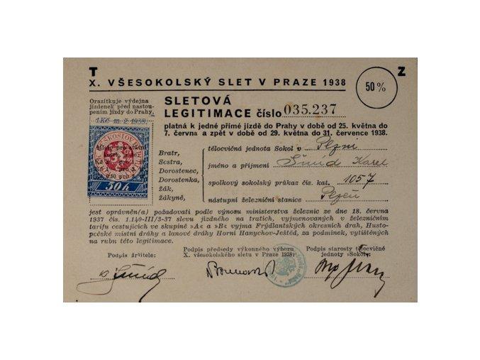 SleSletová legitimace IX. všesokolského sletu v Praze 1932DSC 4667