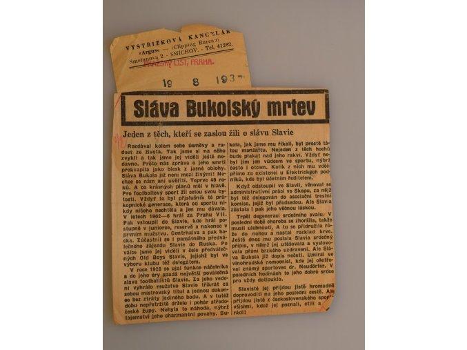 sprt antique 6 17 (48) Novinový výstřižek Sláva Bukolský je mrtev