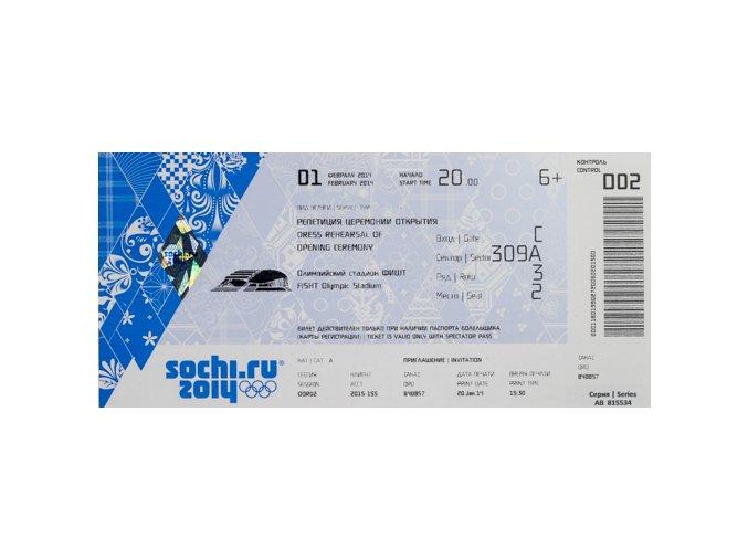 Vstupenka OG Sochi, 2014, Opening CeremonyVstupenka OG Sochi, 2014, Opening Ceremony