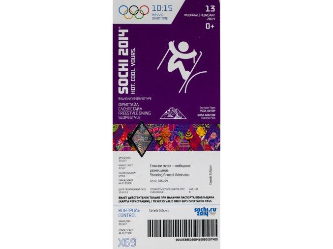 Vstupenka OG Sochi, 2014, SlopstyleVstupenka OG Sochi, 2014, Slopstyle
