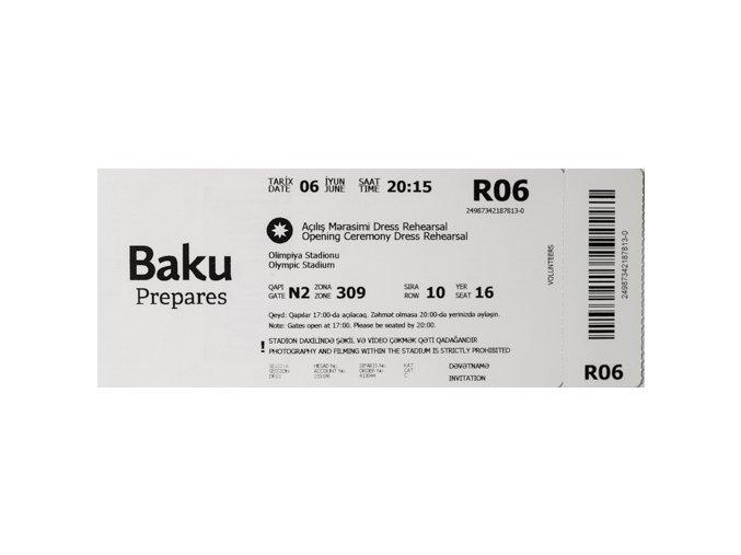 Vstupenka European Games, Baku, Opening Ceremony, 2015Vstupenka European Games, Baku, Opening Ceremony, 2015