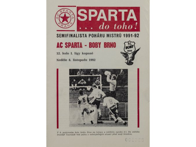 Program Sparta vs. Brno 1992Program Sparta vs. Brno 1992