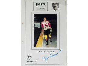 Podpisová karta s fotografií, HC Sparta Praha, Jan Eysselt