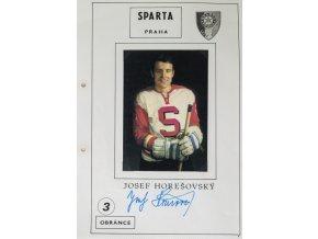 Podpisová karta s fotografií, HC Sparta Praha, Josef Horešovský
