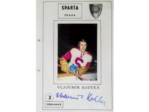 Podpisová karta s fotografií, HC Sparta Praha, Vladimír Kostka