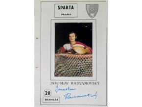 Podpisová karta s fotografií, HC Sparta Praha, Jaroslav Radvanovský