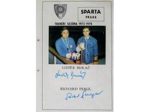 Podpisová karta s fotografií, HC Sparta Praha, L.Bukač, R.Pergl