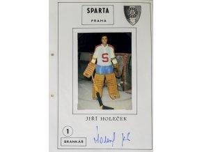Podpisová karta s fotografií, HC Sparta Praha, Jiři Holeček