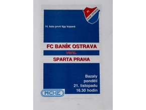 Program FC Banik Ostrava vs. AC Sparta Praha,