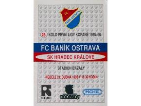 Program FC Banik Ostrava vs. SK Hradec Králové, 1996