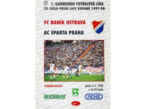 Program FC Banik Ostrava vs. AC SPARTA PRAHA, 1998