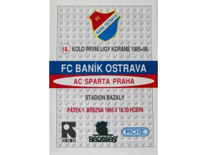Program FC Banik Ostrava vs. AC SPARTA PRAHA, 1996 II