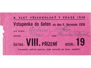 Vstupenka X. všesokolský slet v Praze, do šaten na 4.XIII.1938