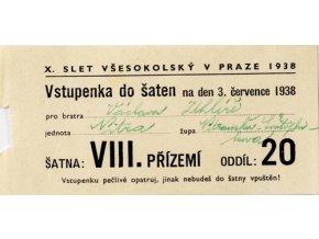 Vstupenka X. všesokolský slet v Praze, do šaten na 3.VII.1938