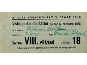 Vstupenka X. všesokolský slet v Praze, do šaten na 5.VII..1938