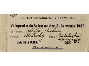 Vstupenka IX. všesokolský slet v Praze, do šaten, 3.VII.1932
