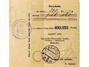 Potvrzenka Sokol o vkladu 500 Kč, 1930