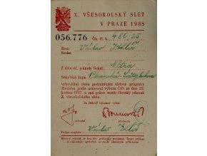 Průkaz X Všesokolský slet v Praze, 1938 (1)