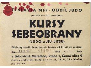 Leták, Kursy sebeobrany, TJ Slavia MFF oddíl Judo, 1969 (1)