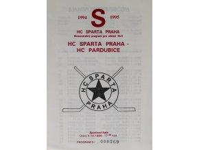 Program hokej, HC Sparta vs. HC Pardubice, 1994