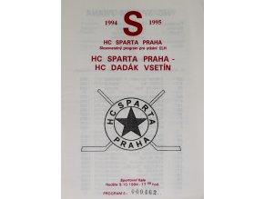 Program hokej, HC Sparta Praha vs. HC Dadák Vsetín, 1994