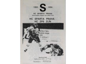 Program hokej, HC Sparta Praha vs. HC ZPS Zlín, 1993