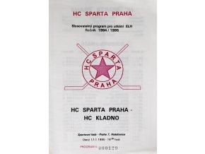 Program hokej, HC Sparta Praha vs. HC, Kladno, 1995