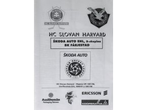 Program hokej, HC Slovan Harward vs. BK Farjestad, EHL 1998