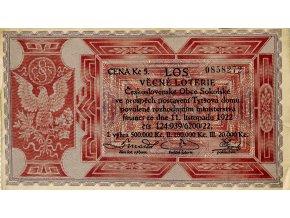 Los Věcná loterie XI. Československé Obce Sokolské, 1922 II (1)