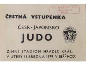 Vstupenka čestná, ČSSR Japonsko, JUDO, 1979