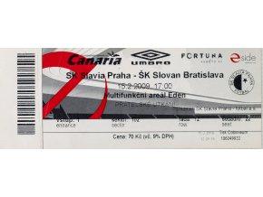 Vstupenka fotbal SK Slavia Prague vs. ŠK Slovan Bratislava, 2009