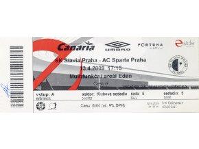 Vstupenka fotbal SK Slavia Prague vs. AC SPARTA Praha, 2009
