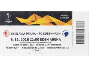 Vstupenka fotbal SK Slavia Prague vs. FC Kobenhavn, UEFA 2018