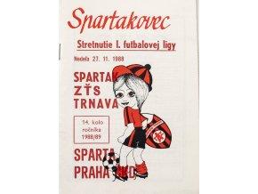 Program k utkání TRNAVA vs. Sparta Praha, Spartakovec, 1988